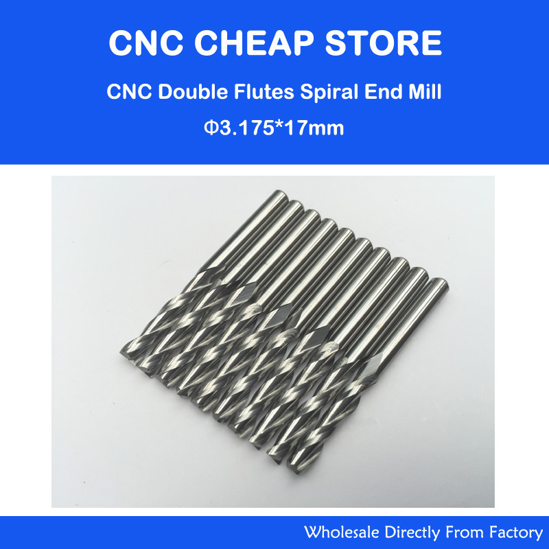 10pcs Double Flute Straight Slot Carbide Cutters CNC Router Bits 3.175 *17mm(China (Mainland))