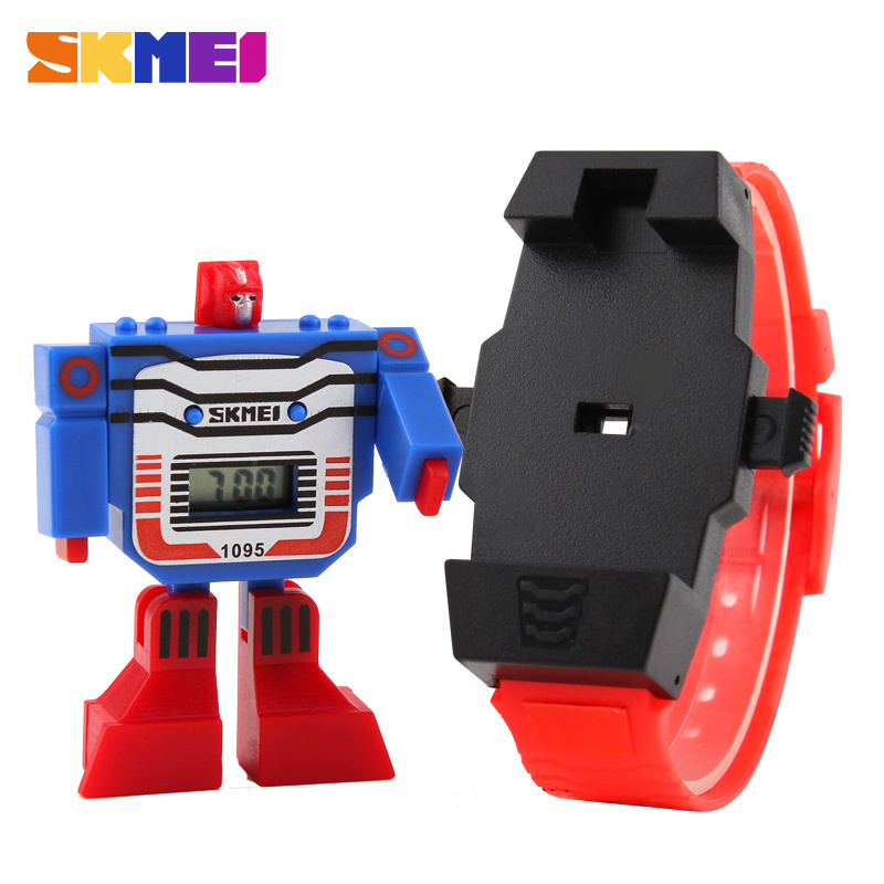 2015 Fashion LED Digit Kids Children Watch Sports Cartoon Watches Cute Relogio Relojes Robot Transformation Toys Boys Wristwatch(China (Mainland))