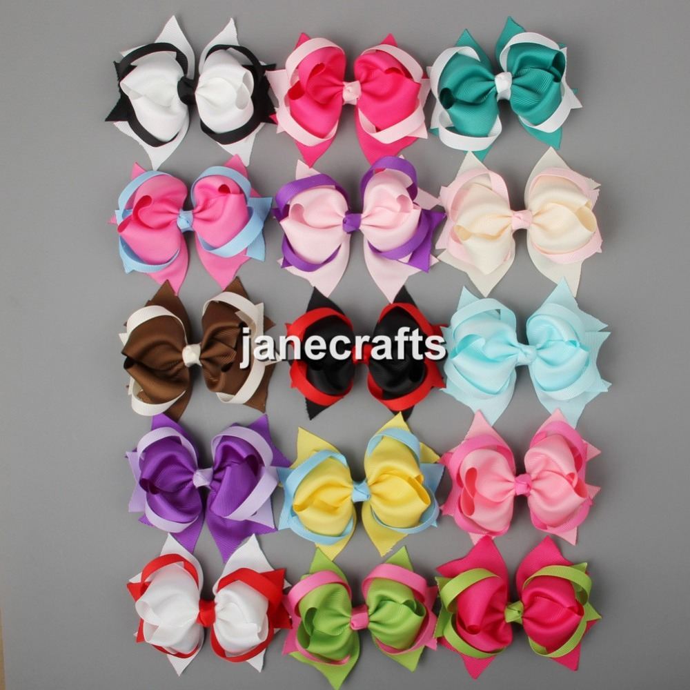 """15pcs 4"""" Mixed 15 Color Spike Hair Bows Grosgrain Ribbon Hair Bow Baby Girl Boutique Hair Accessories for Headband Without Clips(China (Mainland))"""