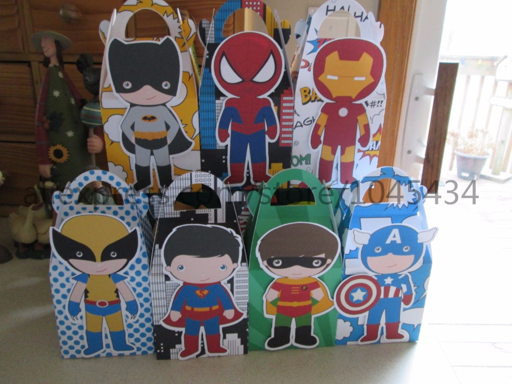 Superhero Avengers Gift Box Candy Box Gift Box Favor Box 7PCS/lot Birthday Party Decorations Kids Event & Party Supplies(China (Mainland))