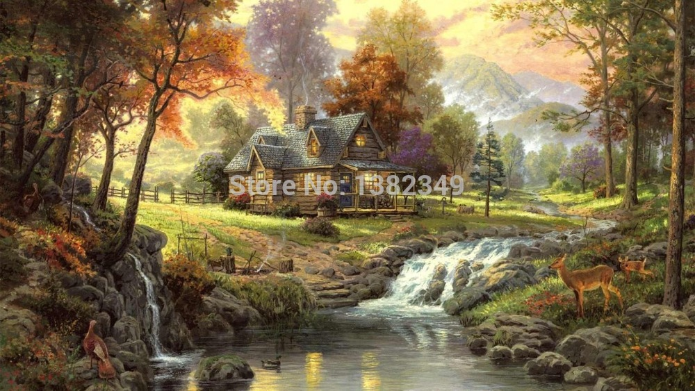 2015 Rushed Cuadros Pictures for Living Room Thomas Kinkade Canvas Print Picture Mountain Retreat Oil Painting By Unique Gift(China (Mainland))