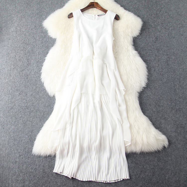 Europe and the United States women's wear the new summer 2016 Sleeveless vest crushed splicing temperament dress(China (Mainland))