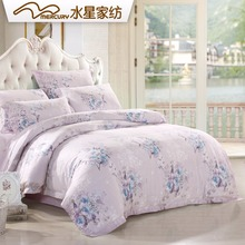Free shipping!Mercury Home Textile Snow and  Silver Flower shadow 100% Tencel bedding set with 4 pcs bed sheet duvet cover(China (Mainland))