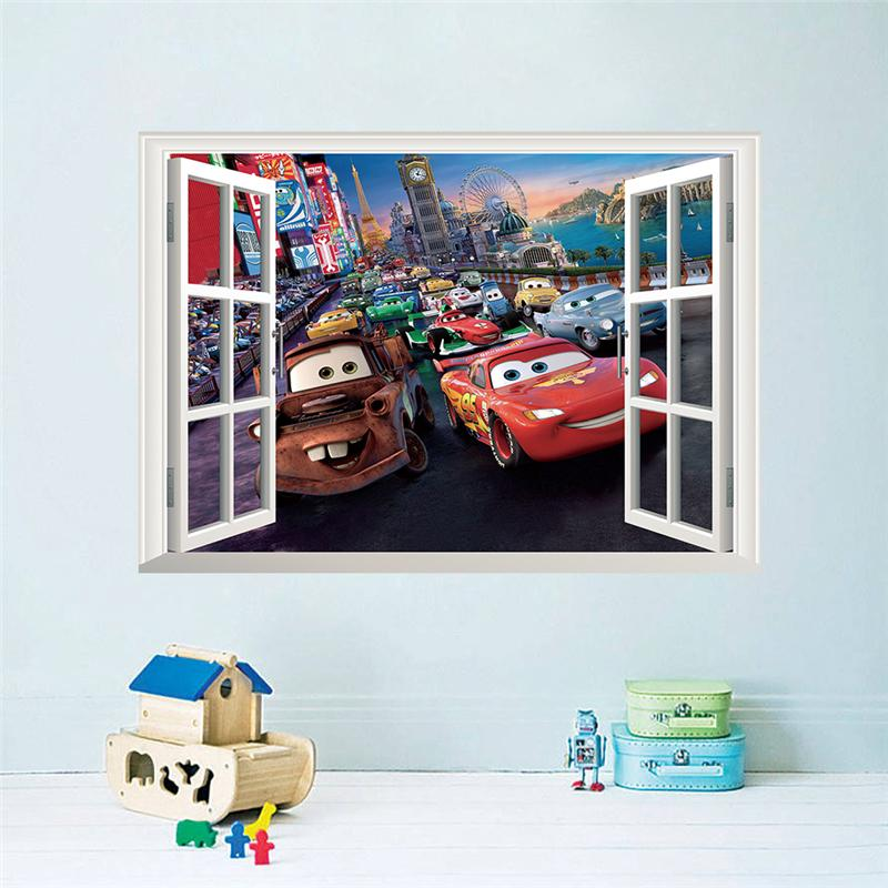 movie cars wall stickers kid bed play room decoration diy 3d cartoon film fantastic window home decal nursery kids mural art 4.0(China (Mainland))