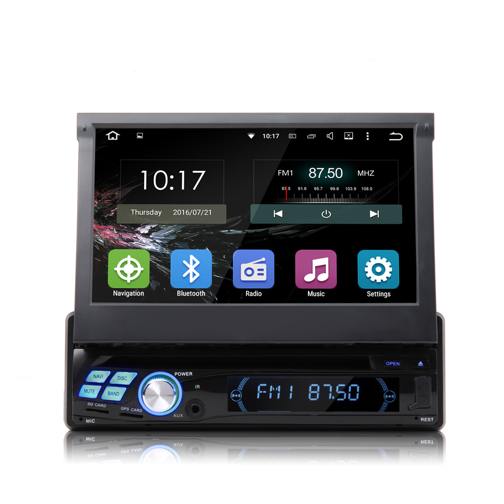 "7"" Quad Core Android 5.1.1 OS Single Din Car DVD 1 Din Car GPS One Din Car Radio with Video Output from All Modes Support(China (Mainland))"