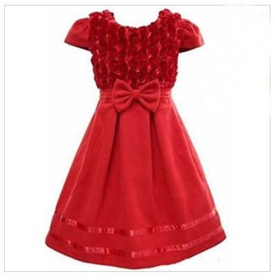 New Arrival Flower Bow Princess Dress Christmas Children Dresses Worsted Red/Roseo Kids Wear Sweet Flower Girl(China (Mainland))