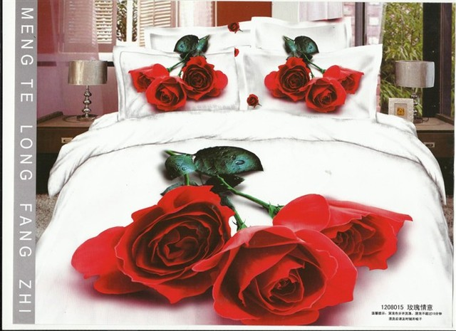 2013 new Beautiful 100% Cotton 4pc Doona Duvet QUILT Cover Set bedding set Full / Queen/  King size 4pcs white red rose  flower