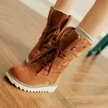 On Sale Big size 34-43 lace-up winter boots for women keep warm sweet fashion mid-calf snow boots shoes Z1FLBK-B66(China (Mainland))