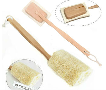 Free Shipping Natural Bath and Body Loofah Brush With Long Detachable Handle Wholesale