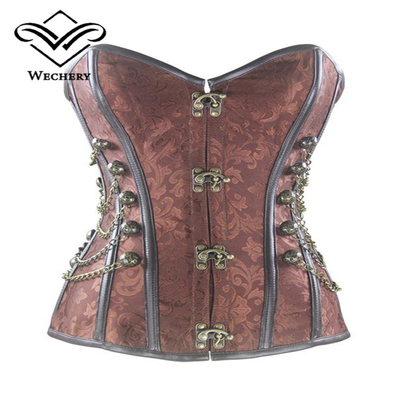 Claciss Brocade Buckle Steampunk Gothic Punk Steel Boned leather Corset with Chain Plus Size Waist Training