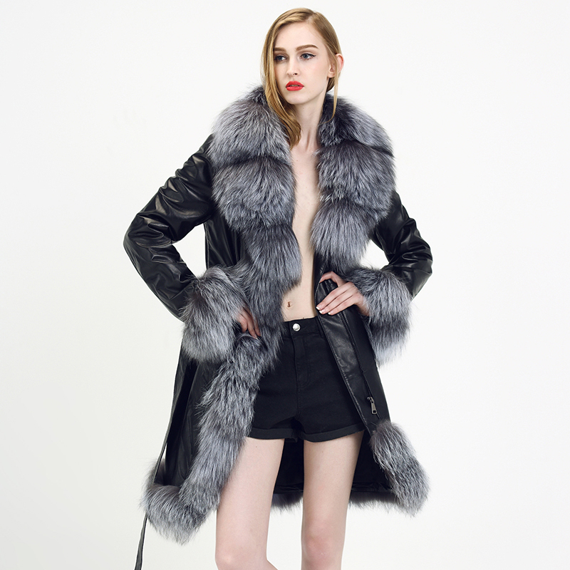 Fox Fur Parkas Silver 2015 New Style Fashion Genuine Leather Fur Coat Skirt Famous Brand Women Autumn Winter Ladies Fur Coat(China (Mainland))