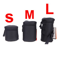 Waterproof Padded Protector Fly Leaf Camera Lens Bag Case Pouch for DSLR Nikon Canon Sony Lenses Black Size S M L