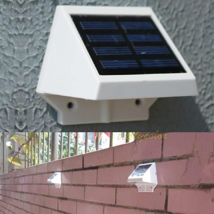Chargable painel Solar 4 LED cerca Gutter luz jardim parede exterior