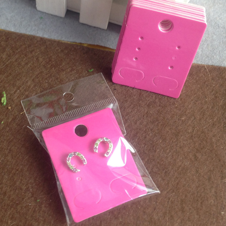 2015 New Fashion Earring card Hot Pink Earring Card 50X40MM Custom Logo cost extra 1lot =50 pcs earring card +50 opp bags(China (Mainland))