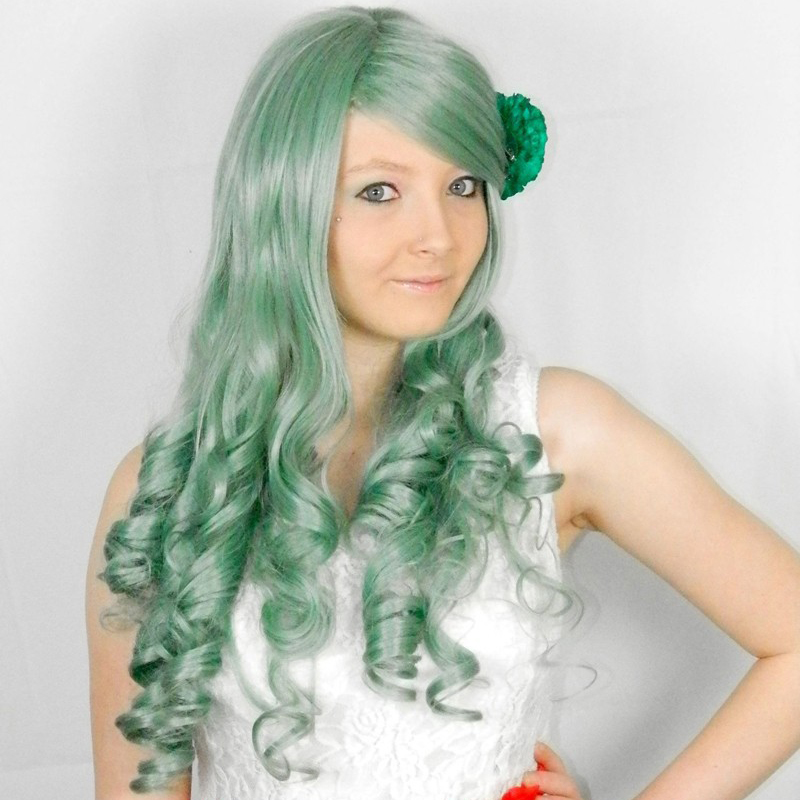 Free shipping hot sell! Heat Haze Project Kido Green Long Straight Cosplay Wig CC194 +a wig cap<br><br>Aliexpress