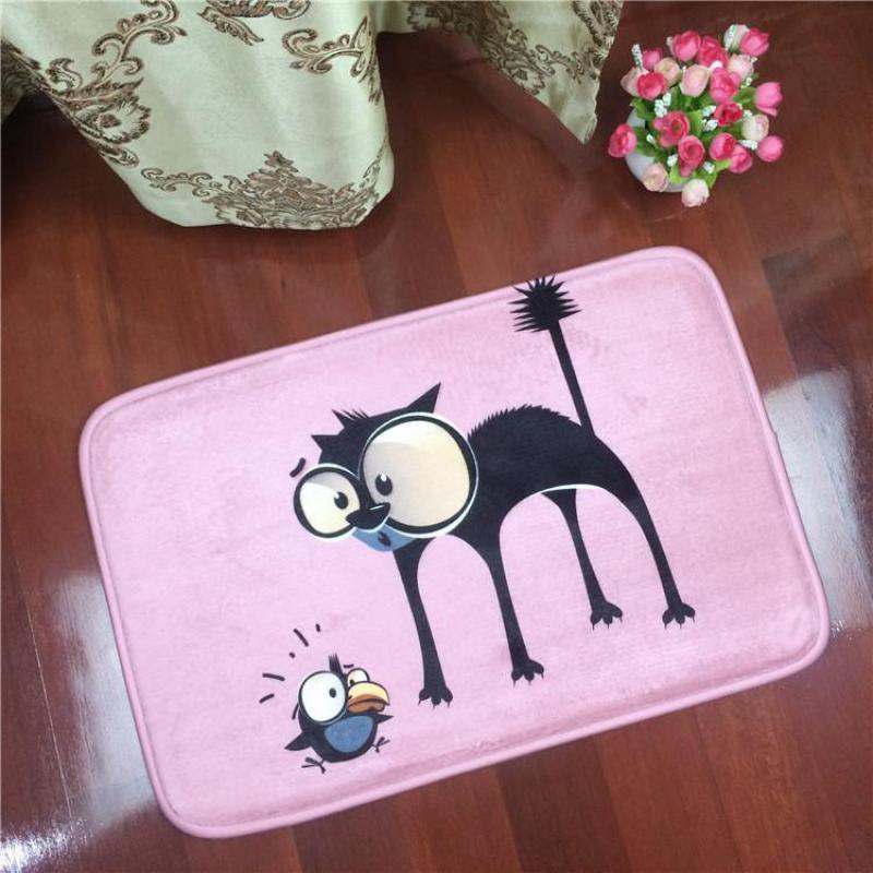 Creative Cartoon Cat Animal Home Door Mat Decoration Mats Rug Flannel Rectangular Carpet Bedroom Home Bathroom Antiskid Mat(China (Mainland))