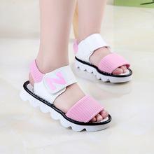 CN 27-37 black pink yellow 2016 fashion brand designer summer new Korean letter N girls sandals baby kids princess shoes(China (Mainland))