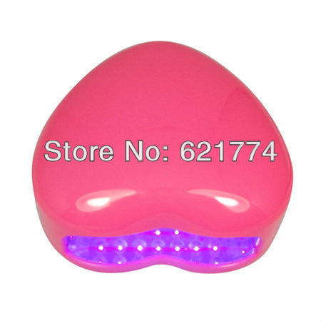 2013 New Mini Portable Heart Shape 3W LED Nail Gel Polish Cure Lamp LED UV Nail Dryer Lamp