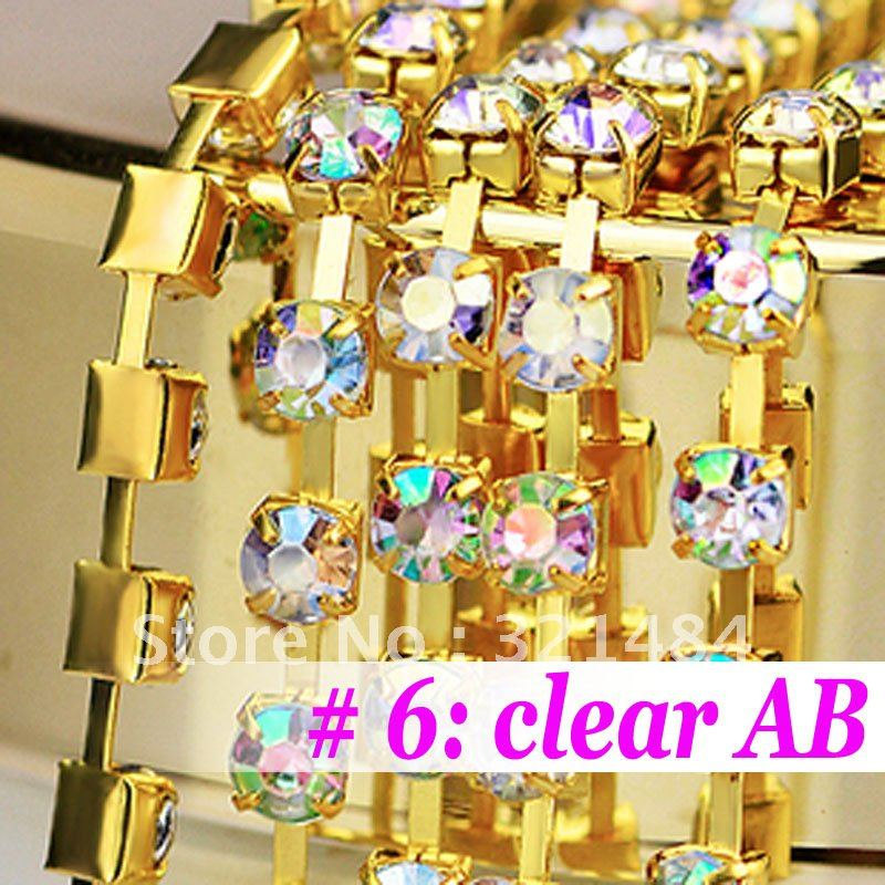 Free Shipping!! 3mm 25meter Gold Plated Cap With Clear AB color Rhinestone Flat back Jewelry Link Rhinestone Chain<br><br>Aliexpress