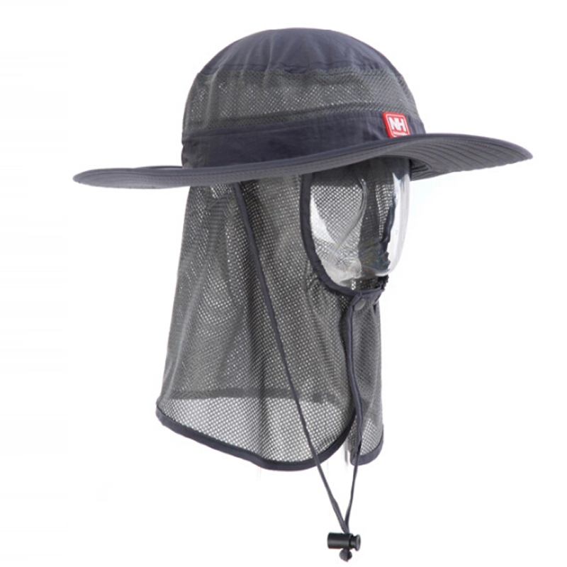 FREE SHIPPING FOR MEN Grey / Gray Handsome Boonie Hat Big Wide Sun Hat Quickdry For Fishing Hunting / Boating / Hiking / Camping