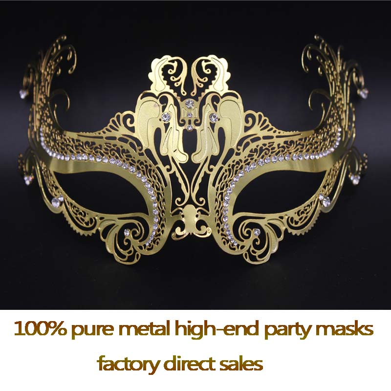Hot metals Venetian mask Golden artificial diamonds masquerade mask high-quality pure metal anonymous mask factory direct sales(China (Mainland))