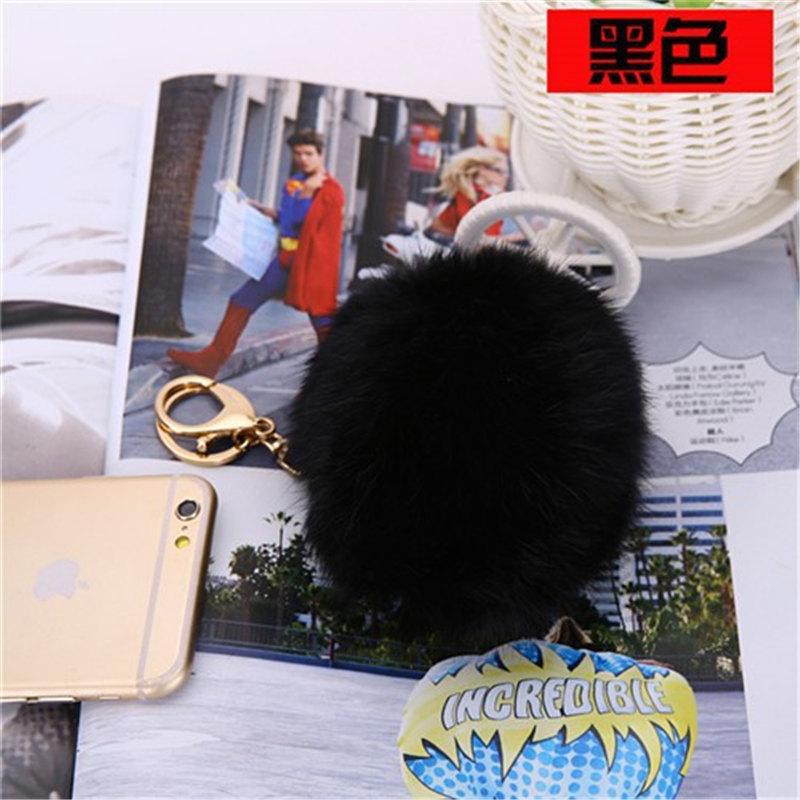 Genuine rabbit 10cm fur ball keychain bag charm key chain porte clef llaveros fur Pom Pom key ring women jewelry gift keyring(China (Mainland))