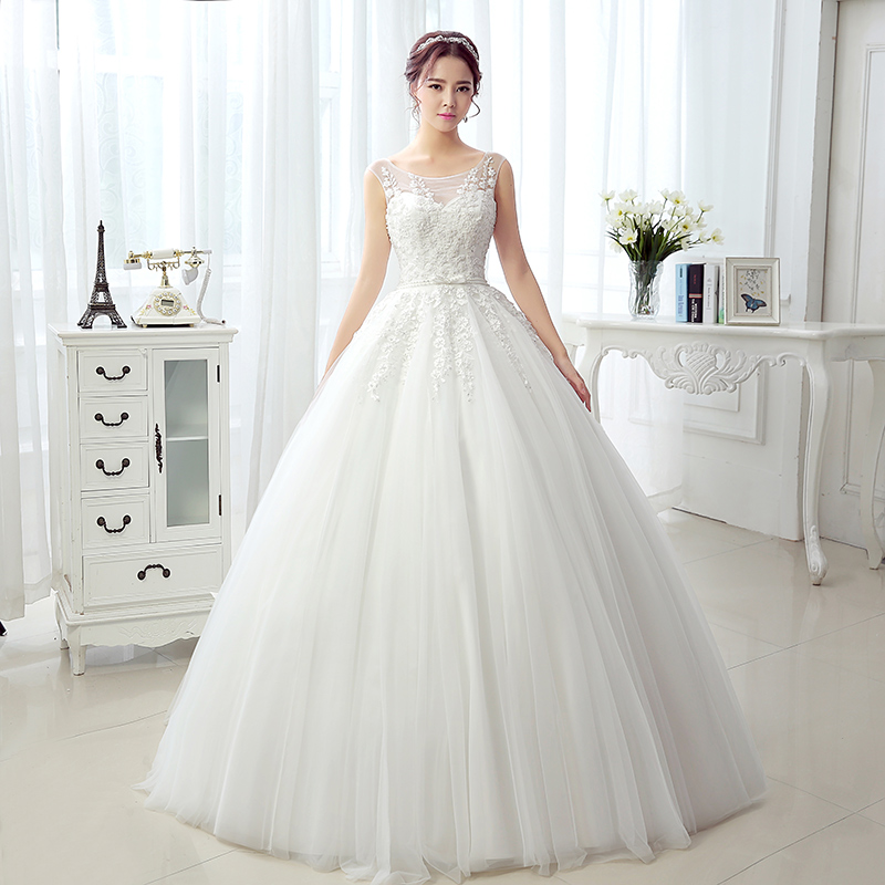 Real Photos Fancy Princess Ball Gown Wedding Dresses Tank Sleeveless Cheap Online Sale Floor Length Dress Bride Robe De Mariage(China (Mainland))