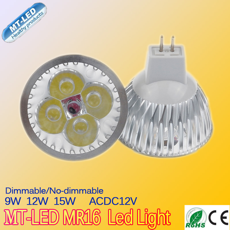 10pcs/lot dimmable lampada led 9W 12W 15W led lamp MR16 12V led bulbs 2 years warranty free shipping(China (Mainland))
