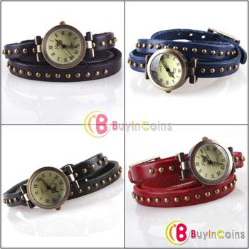 Retro Woman Elegant Rivet Studded Wrap Around Leather Bracelet Wrist Watch #31155
