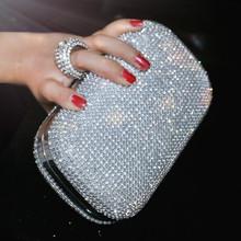 2016 bolso de noche con diamantes noche bolsa con una bolsa de diamantes de las mujeres día del bolso de embrague del banquete del rhinestone femenino 3 Color(China (Mainland))