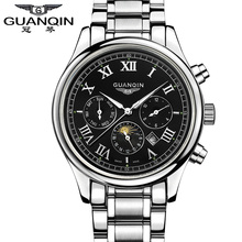 Original GUANQIN Top Brand Luxury Quartz Watches Men Fashion Waterproof Sport Sapphire Mirror Mens Watches Relogios Masculino