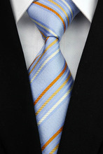 NT0037 Blue Orange Stripe Smooth Jacquard Woven Classic Type Silk Polyester Man s Business Wedding Luxury