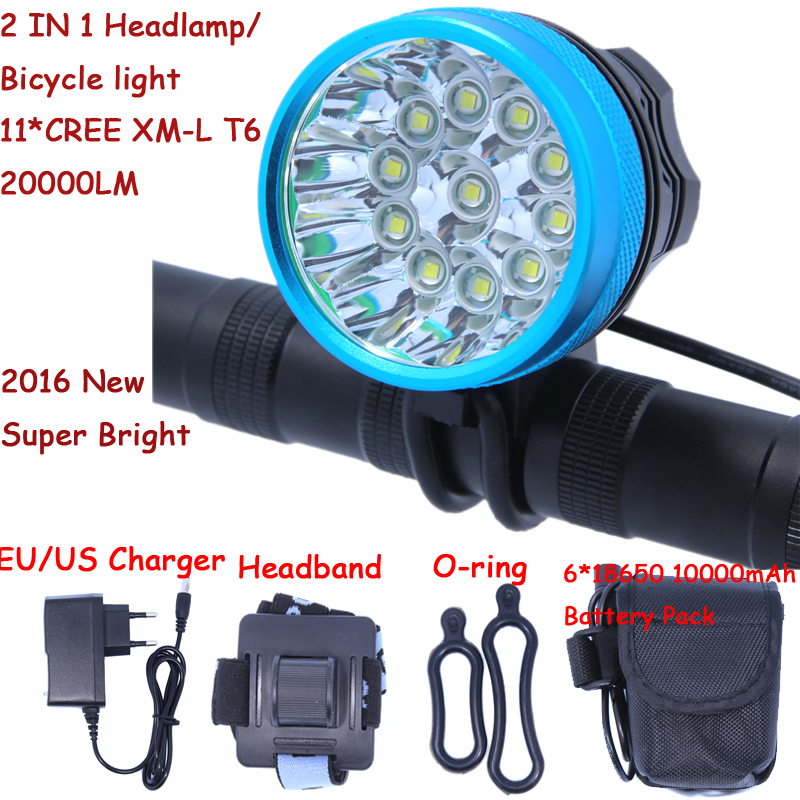 2 in 1 Headlamp Headlight 20000 Lumens 11 x Cree XM-L T6 LED Bicycle Light Cycling Bike Head Lamp + 18650 Battery Pack+Charger(China (Mainland))