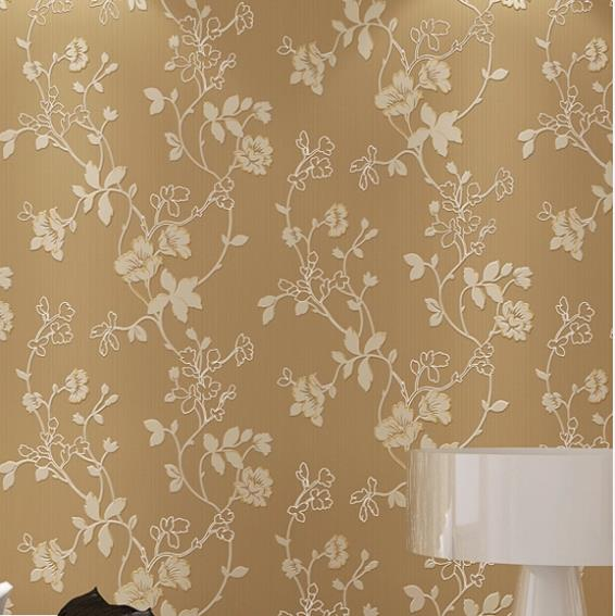 Embroidery 3d modern flower mural wallpaper embossed for 3d brown wallpaper