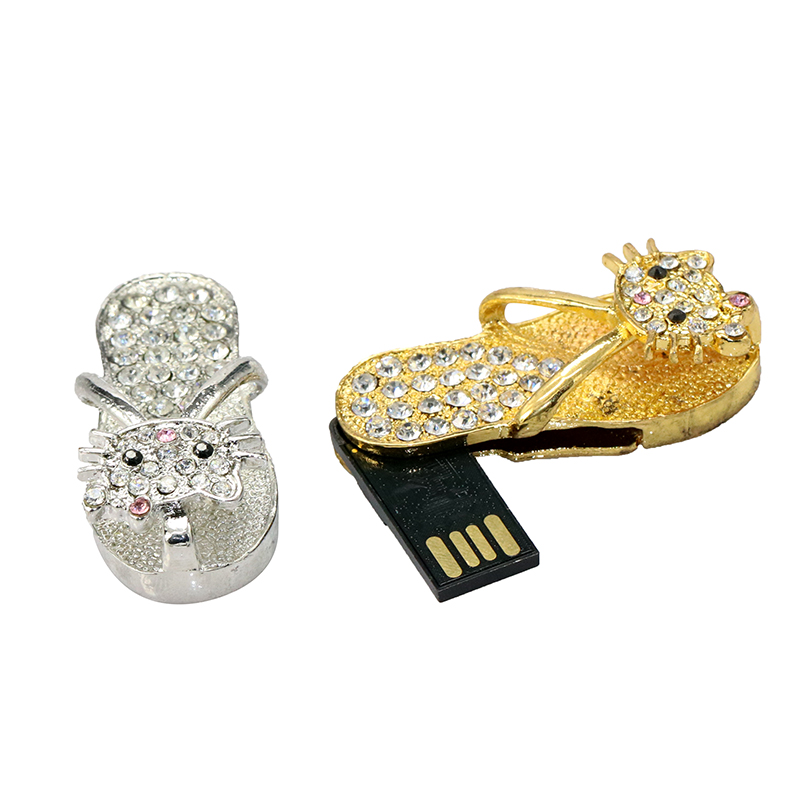 Crystal Diamond Slipper USB Flash 2.0 Memory Stick with hello kitty Necklace usb 4GB 8GB 16GB 32GB 64G Gift Usb Flash Drive(China (Mainland))