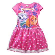 Cleanstock Promotions!! 2016  Pattern Girl Dress With Mesh Purple Casual Sleeveless A-Line Dress For 6-12 Years Girl Chothing