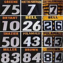 7 Ben Roethlisberger 43 Troy Polamalu 26 leveon bell 84 Antonio Brown Le'Veon Bell 75 Joe Greene 50 Ryan Shazier jersey stitched(China (Mainland))