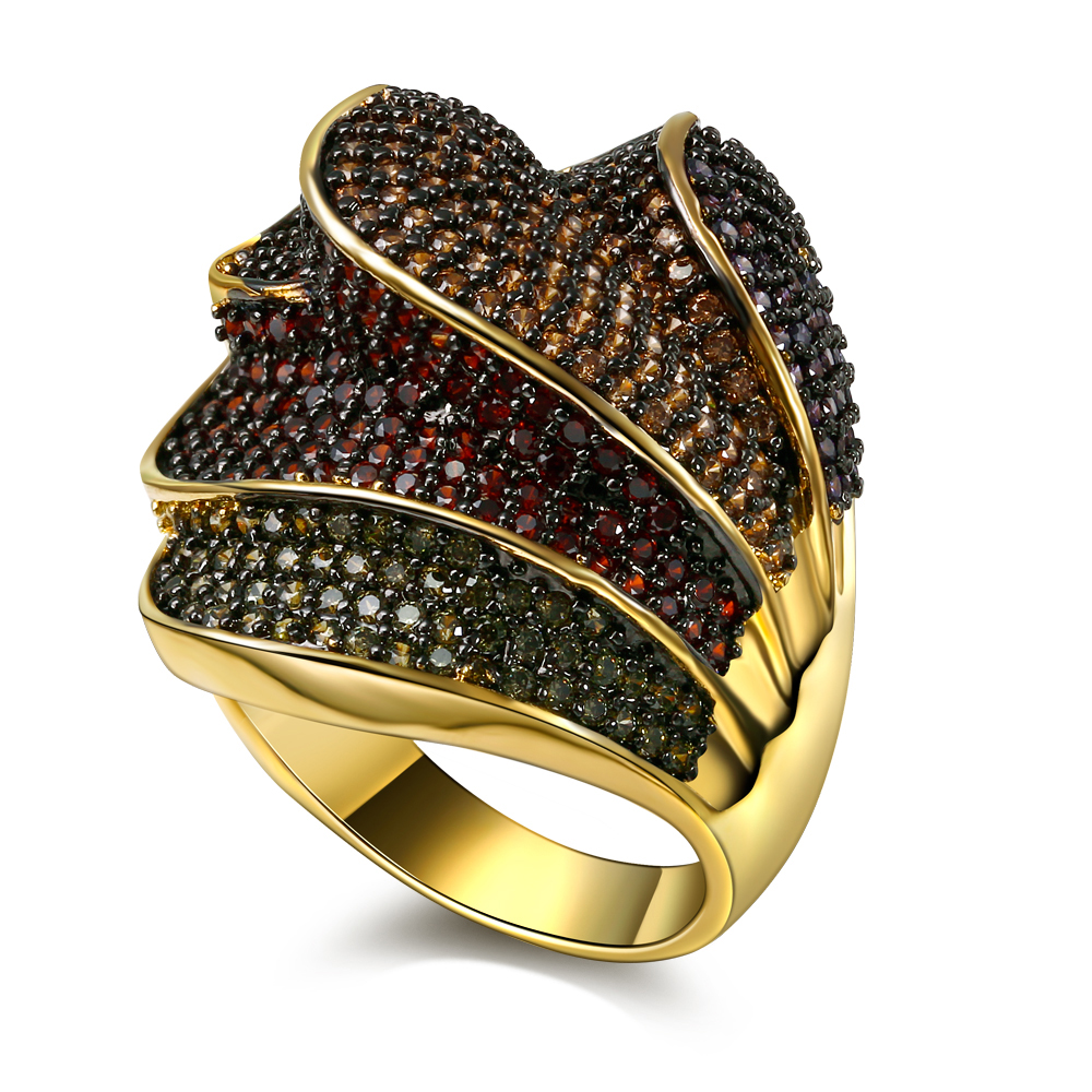 Nice Looking Fashion Women Rings Beautiful 4 Layers Multi Colors Jewelry AAA Cubic Zirconia Pave Setting 18K Gold Plated(China (Mainland))