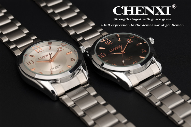 CHENXI Brand Watches Men Watch Business Rose Gold Quartz Watch 2 Colors CX 021A