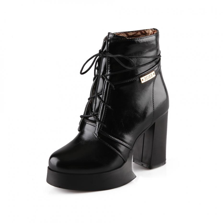 2015 New Winter Fashion Thick Heel Ankle Boots For Women shoes Zapatos Mujer Plataforma Long Plush Keep Warm Bota Feminina(China (Mainland))