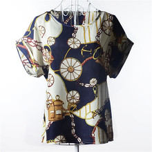 New 2016 Hot Sale T Fashion Summer Batwing Sleeve Shirt Tops Women Print Chiffon Shirt 19 Styles S-XXL(China (Mainland))