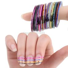 30 Pcs 30 Multicolor Rolls Striping tape Line Nail Art Decorations Tips Sticker Mixed Colors DIY Nail Tips 2015 Hot(China (Mainland))