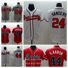 #44 Hank Aaron Jersey 100% Stitched 24 Deion Sanders Jerseys 2016 New Style White Red Gray Fast Shipping(China (Mainland))