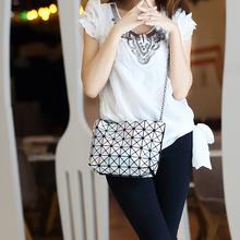 NWT Bao bao women pearl bag laser sac bags Diamond Lattice geometry Quilted shoulder bag Fold over handbags & Crossbody bag(China (Mainland))
