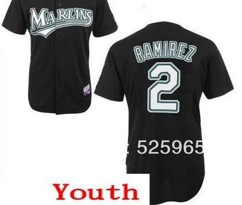 Cheap! Authentic Baseball jerseys for sale Youth Kids Florida Marlins #2 Hanley Ramirez Black Jersey,free shipping