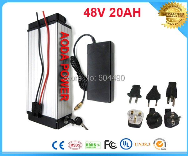 ebike lithium battery 48v 20ah lithium ion bicycle 48v electric scooter battery for kit electric bike 1000w with BMS , Charger(China (Mainland))