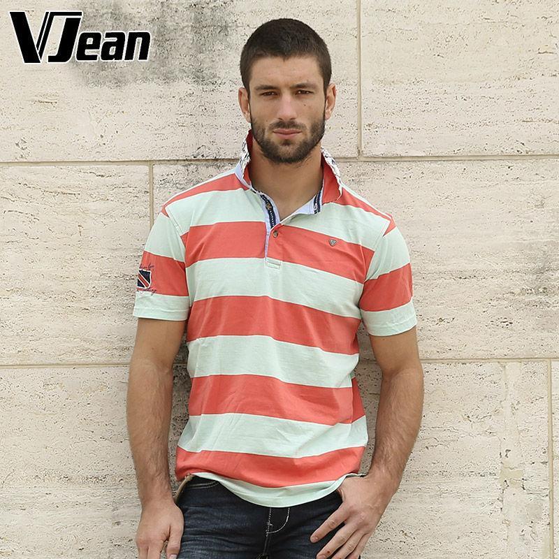 V JEAN Men's Casual shirt Striped Polo Shirt 100%cotton plush size camisa polo yarn dyed Washed(China (Mainland))