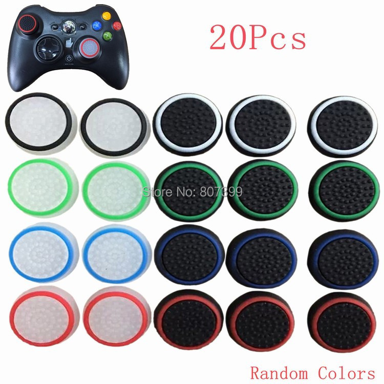 20x Silicone Thumb Stick Joystick Grip Controller Cover Cap For Sony PlayStation PS 3 4 2 PS4 PS3 PS2 Xbox 360 One Accessories(China (Mainland))