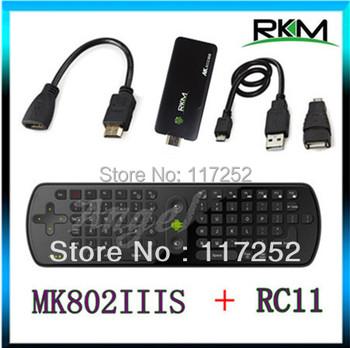 Rikomagic MK802IIIS Bluetooth MINI PC Android 4.4.2 TV BOX Wifi 1GB RAM 8GB MK802 IIIS HDMI &  Measy Fly air mouse RC11