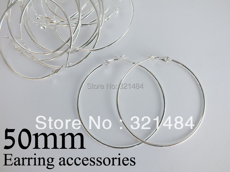 Bulk 500pc lot silver plated 50mm french circle hooks earring backs hoop earring findings for jewelry